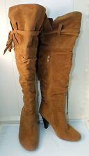 Sarah-Jayne High Heel Boots Ladies 9 Tan Brown Faux Suede Zip Knee-High Slouchy