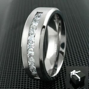 8mm Titanium Men's 1.8 Carat Princess Cut CZ Brushed Center Wedding Band Ring