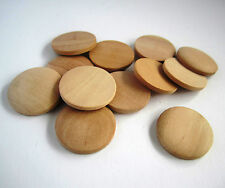 15 plain natural unfinished wood wooden domed coin disc buttons - 5x40mm