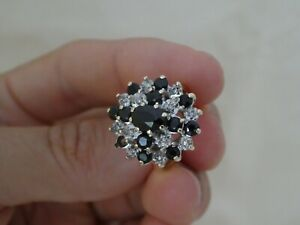 Vintage 9CT Gold Sapphire & Diamond Cluster Ring Size P