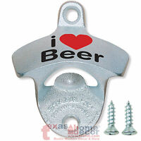I LOVE BEER Starr X Wall Mount Bottle Opener I Heart Beer Stationary Cast Iron