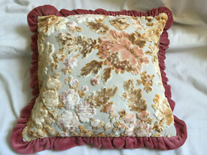 """VINTAGE Antique Pink Floral Ruffled Edge Velvet Cushion with Filling 16X16"""" inch"""