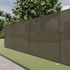 Brown 6ft Outdoor Mesh Fence w/Pole Movable Freestanding Backyard Pool Fencing