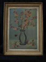 Beau Tableau Alsace Bouquet de Fleurs Cerisiers et papillons Vase Sylvère Lentz