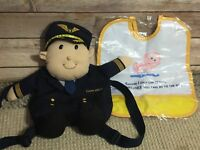 Rare China Airlines Promotional Backpack Pilot Plush with Baby Bib