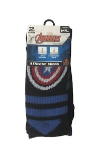 New Boy's Youth Marvel Avengers Athletic Socks 2 Pair Size Youth M/L