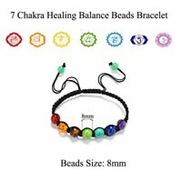 7 Chakra Healing Balance Bead Braided Lava Yoga Reiki Prayer Stones Bracelet Hot