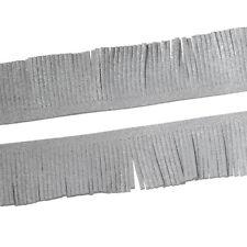 "2m SILVER Tassel Fringe, 1-1/8"" wide (30mm) Faux Suede, Vegan Leather cft0081"