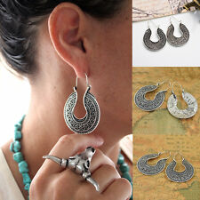 1 Pair Tibetan Silver Hoop Earrings Ethnic Tribal Boho Dangle Earrings Jewelry