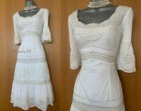 Karen Millen 12 UK Ivory Embroidered Ruffled Short Sleeve Summer Holiday Dress