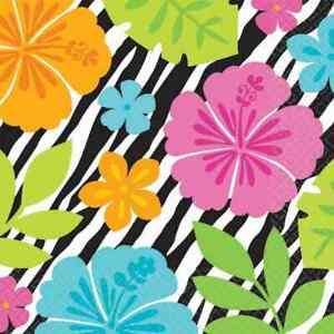 Wild Isle Zebra Tropical Luau Beach Pool Theme Party Paper Beverage Napkins