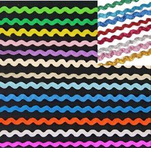 6mm Rik Rak Ric Rac,Zig Zag Curve Wavy Trim Ribbon Braid 30 Colours 2Y Lot 1355