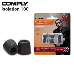 Comply Foam T-100 Isolation 3 Pairs In-Ear Earphone Tips Medium Black CK