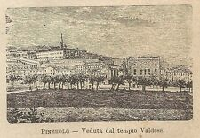 A0154 Pinerolo - Veduta dal Tempio Valdese - Stampa Antica del 1907 - Xilografia