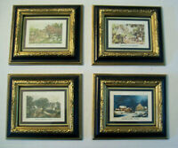 Currier Ives Four Seasons Illinois Moulding Co pictures black gold SET of 4