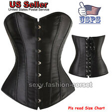 Plus Size Lace up Boned Corset Overbust Bustier Waist Training Basques Lingeries