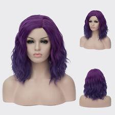 Durable Heat Short Beach Waves Hairstyle Cruly Wig Deep purple gradient 15.7''
