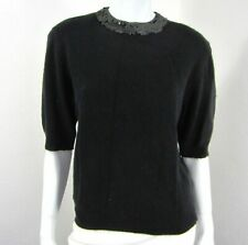 Evan-Picone Short Sleeve Angora Blend Sweater L Large Sequins Black Mock Neck
