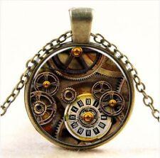 Clásico Brújula reloj Cabujón Bronce Vidrio Cadena Colgante Collar YK019