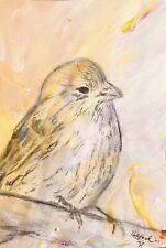 Gold Finch Bird Minimalist Original Art Yellow Cream Not A Print Sings Ooak