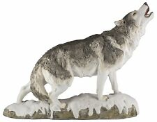 "Standing Wolf Howling Figurine Resin 12.75"" Long Detailed Resin New In Box"