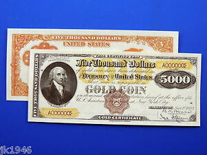 Reproduction $5,000 1882 Gold Certificate Note US Paper Money Currency Copy