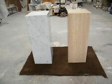 Genuine Travertine and Carrara marble pedestals , polished  70x25x25cm