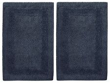 Cotton Craft 2 Piece Reversible Step Out Bath Mat Rug Set 17x24 Navy 100% Cotton