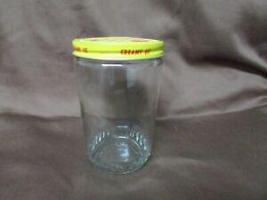 Vintage Creamy Jif Peanut Butter 16 oz Jar w/ Original Metal Lid Textured Glass