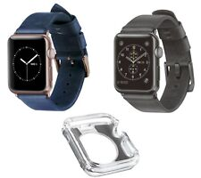 NEW 2x Nomad Genuine Leather Strap Band for Apple Watch 38mm & Clear Bumper Case