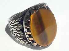 925 Sterling Silver Men's Ring with Absolutely Handmade Real Tiger's Eye