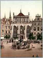 Danzig. Börse und Artushof. PZ vintage photochromie, Gdańsk, Poland photochrom