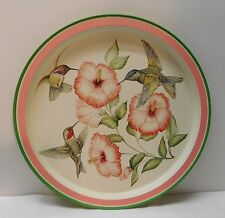Hummingbird with Pink Flowers Round Serving Tray Platter Wall Hanging Signed