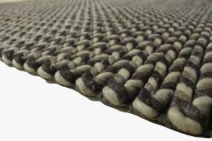 Teppich 100% Schurwolle Landhausteppich 170x230 cm gezopft braun wollweiß
