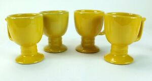 Vintage FRANKOMA Pottery Pedestal Mugs MUSTARD YELLOW C13 Lot of 4