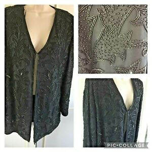 SENSATIONS black beaded evening/party jacket - Size 14