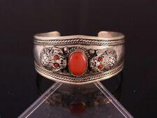 Huge Tibetan Big Red Coral Gemstone Delicately Carved Dragon Head Cuff Bracelet