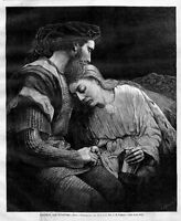 LANCELOT AND GUINEVERE, 1877 ANTIQUE ENGRAVING LANCELOT