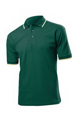 Hanes Mens Plain Cotton Golf Sports Polo Shirt with Striped Collar No Logo