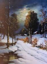 vintage art Snowy Road Moon Light Cabins Wm Thompson