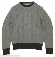 NWT J. Crew Cotton Sweater Chunky Cable Knit Crew Neck Flannel Gray & Navy sz L