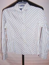 Faconnable Blue gold & White Striped Button down Shirt Misses Size Small
