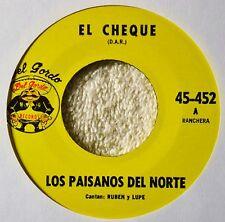Los Paisanos del Norte El Cheque 45 Tex Mex Tejano Flores de Durango Del Gordo