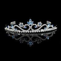 3cm High Wedding Prom Bride Bridemaid Light Blue Crystal Tiara Headband