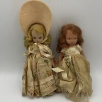Vintage Nancy Ann Bisque Storybook Dolls Painted Eyes And Sleep Eyes