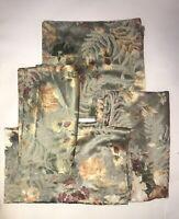 JACQUARD PANEL 4 Piece Drape Curtain & Valance Set Green Sage Floral
