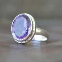 Oval Faceted Purple Amethyst 925 Sterling Silver Birthstone Ring Size 6