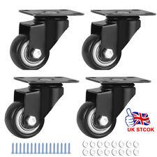 More details for 4 x heavy duty 25mm rubber swivel castor wheels trolley furniture caster brake