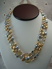 """VINTAGE MONET 3 STRAND FAUX SILVER GOLD PEARL CRYSTAL SILVER BEAD 19"""" NECKLACE"""