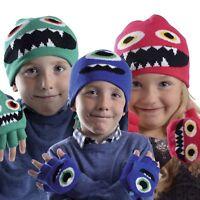 Kids Children Boys Girls Warm Winter Soft Fabric Stretch Hat & Mittens Gloves